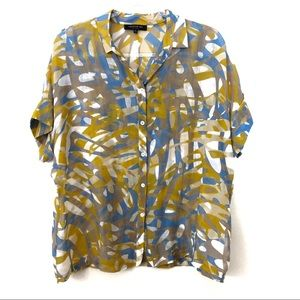 Lafayette 148 Yellow and Blue Abstract Blouse Sz M